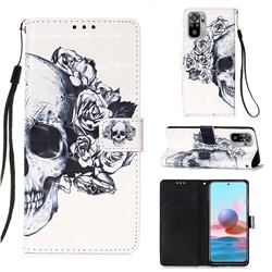 Skull Flower 3D Painted Leather Wallet Case for Xiaomi Redmi Note 10 4G / Redmi Note 10S