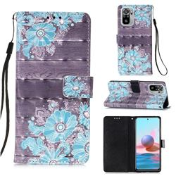 Blue Flower 3D Painted Leather Wallet Case for Xiaomi Redmi Note 10 4G / Redmi Note 10S