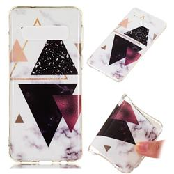 Four Triangular Soft TPU Marble Pattern Phone Case for Samsung Galaxy S10 (6.1 inch)