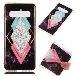 Black Diamond Soft TPU Marble Pattern Phone Case for Samsung Galaxy S10 (6.1 inch)