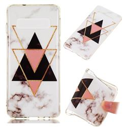 Inverted Triangle Black Soft TPU Marble Pattern Phone Case for Samsung Galaxy S10 (6.1 inch)
