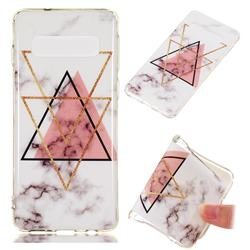 Inverted Triangle Powder Soft TPU Marble Pattern Phone Case for Samsung Galaxy S10 (6.1 inch)