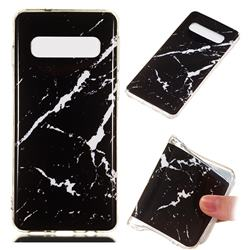 Black Rough white Soft TPU Marble Pattern Phone Case for Samsung Galaxy S10 (6.1 inch)