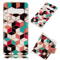 Three-dimensional Square Soft TPU Marble Pattern Phone Case for Samsung Galaxy S10 (6.1 inch)