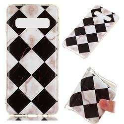 Black and White Matching Soft TPU Marble Pattern Phone Case for Samsung Galaxy S10 (6.1 inch)