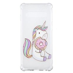 Donut Unicorn Anti-fall Clear Varnish Soft TPU Back Cover for Samsung Galaxy S10 (6.1 inch)