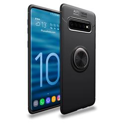 Auto Focus Invisible Ring Holder Soft Phone Case for Samsung Galaxy S10 (6.1 inch) - Black