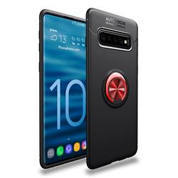 Auto Focus Invisible Ring Holder Soft Phone Case for Samsung Galaxy S10 (6.1 inch) - Black Red