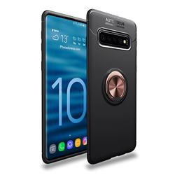 Auto Focus Invisible Ring Holder Soft Phone Case for Samsung Galaxy S10 (6.1 inch) - Black Gold
