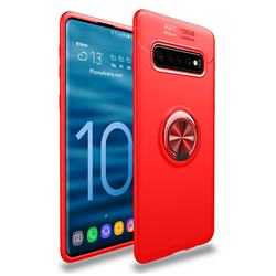 Auto Focus Invisible Ring Holder Soft Phone Case for Samsung Galaxy S10 (6.1 inch) - Red