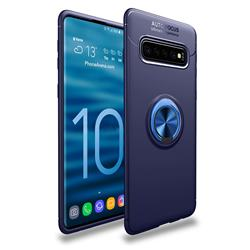 Auto Focus Invisible Ring Holder Soft Phone Case for Samsung Galaxy S10 (6.1 inch) - Blue