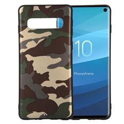 Camouflage Soft TPU Back Cover for Samsung Galaxy S10 (6.1 inch) - Gold Green