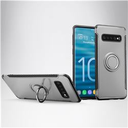 Armor Anti Drop Carbon PC + Silicon Invisible Ring Holder Phone Case for Samsung Galaxy S10 (6.1 inch) - Silver