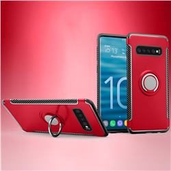 Armor Anti Drop Carbon PC + Silicon Invisible Ring Holder Phone Case for Samsung Galaxy S10 (6.1 inch) - Red
