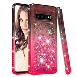 Diamond Frame Liquid Glitter Quicksand Sequins Phone Case for Samsung Galaxy S10 (6.1 inch) - Gray Pink