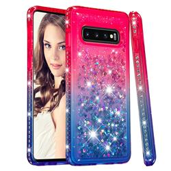 Diamond Frame Liquid Glitter Quicksand Sequins Phone Case for Samsung Galaxy S10 (6.1 inch) - Pink Blue