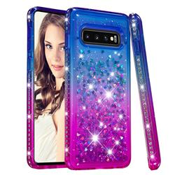 Diamond Frame Liquid Glitter Quicksand Sequins Phone Case for Samsung Galaxy S10 (6.1 inch) - Blue Purple