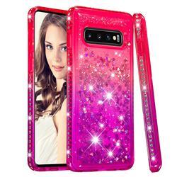 Diamond Frame Liquid Glitter Quicksand Sequins Phone Case for Samsung Galaxy S10 (6.1 inch) - Pink Purple