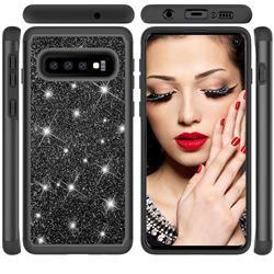 Glitter Rhinestone Bling Shock Absorbing Hybrid Defender Rugged Phone Case Cover for Samsung Galaxy S10 (6.1 inch) - Black