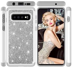 Glitter Rhinestone Bling Shock Absorbing Hybrid Defender Rugged Phone Case Cover for Samsung Galaxy S10 (6.1 inch) - Gray