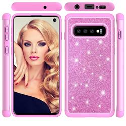 Glitter Rhinestone Bling Shock Absorbing Hybrid Defender Rugged Phone Case Cover for Samsung Galaxy S10 (6.1 inch) - Pink