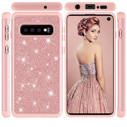 Glitter Rhinestone Bling Shock Absorbing Hybrid Defender Rugged Phone Case Cover for Samsung Galaxy S10 (6.1 inch) - Rose Gold