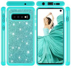 Glitter Rhinestone Bling Shock Absorbing Hybrid Defender Rugged Phone Case Cover for Samsung Galaxy S10 (6.1 inch) - Green