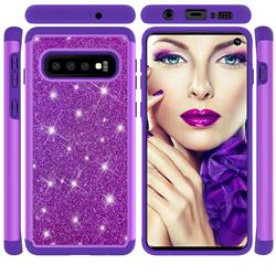 Glitter Rhinestone Bling Shock Absorbing Hybrid Defender Rugged Phone Case Cover for Samsung Galaxy S10 (6.1 inch) - Purple