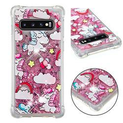 Angel Pony Dynamic Liquid Glitter Sand Quicksand Star TPU Case for Samsung Galaxy S10 (6.1 inch)