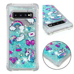 Fashion Unicorn Dynamic Liquid Glitter Sand Quicksand Star TPU Case for Samsung Galaxy S10 (6.1 inch)