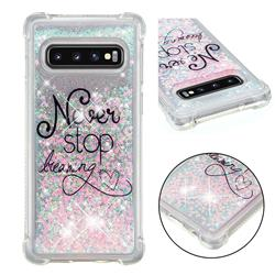 Never Stop Dreaming Dynamic Liquid Glitter Sand Quicksand Star TPU Case for Samsung Galaxy S10 (6.1 inch)