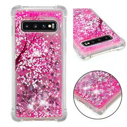 Pink Cherry Blossom Dynamic Liquid Glitter Sand Quicksand Star TPU Case for Samsung Galaxy S10 (6.1 inch)