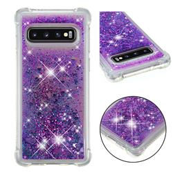Dynamic Liquid Glitter Sand Quicksand Star TPU Case for Samsung Galaxy S10 (6.1 inch) - Purple