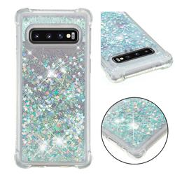Dynamic Liquid Glitter Sand Quicksand Star TPU Case for Samsung Galaxy S10 (6.1 inch) - Silver