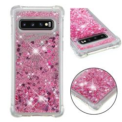 Dynamic Liquid Glitter Sand Quicksand Star TPU Case for Samsung Galaxy S10 (6.1 inch) - Diamond Rose
