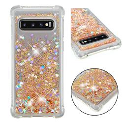 Dynamic Liquid Glitter Sand Quicksand Star TPU Case for Samsung Galaxy S10 (6.1 inch) - Diamond Gold