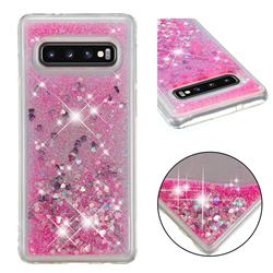 Dynamic Liquid Glitter Quicksand Sequins TPU Phone Case for Samsung Galaxy S10 (6.1 inch) - Rose
