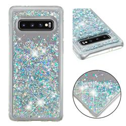 Dynamic Liquid Glitter Quicksand Sequins TPU Phone Case for Samsung Galaxy S10 (6.1 inch) - Silver