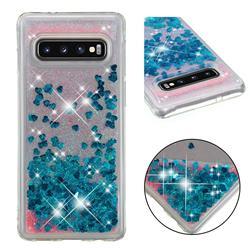 Dynamic Liquid Glitter Quicksand Sequins TPU Phone Case for Samsung Galaxy S10 (6.1 inch) - Blue