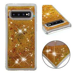 Dynamic Liquid Glitter Quicksand Sequins TPU Phone Case for Samsung Galaxy S10 (6.1 inch) - Golden
