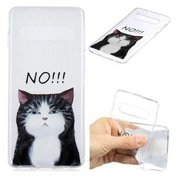 Cat Say No Clear Varnish Soft Phone Back Cover for Samsung Galaxy S10 (6.1 inch)