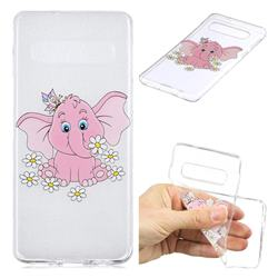 Tiny Pink Elephant Clear Varnish Soft Phone Back Cover for Samsung Galaxy S10 (6.1 inch)
