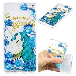 Blue Flower Unicorn Clear Varnish Soft Phone Back Cover for Samsung Galaxy S10 (6.1 inch)