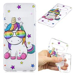 Glasses Unicorn Clear Varnish Soft Phone Back Cover for Samsung Galaxy S10 (6.1 inch)