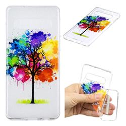 Oil Painting Tree Clear Varnish Soft Phone Back Cover for Samsung Galaxy S10 (6.1 inch)
