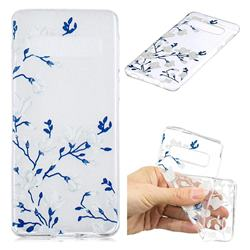 Magnolia Flower Clear Varnish Soft Phone Back Cover for Samsung Galaxy S10 (6.1 inch)
