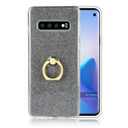 Luxury Soft TPU Glitter Back Ring Cover with 360 Rotate Finger Holder Buckle for Samsung Galaxy S10 (6.1 inch) - Black