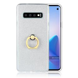 Luxury Soft TPU Glitter Back Ring Cover with 360 Rotate Finger Holder Buckle for Samsung Galaxy S10 (6.1 inch) - White
