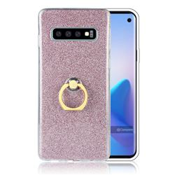 Luxury Soft TPU Glitter Back Ring Cover with 360 Rotate Finger Holder Buckle for Samsung Galaxy S10 (6.1 inch) - Pink