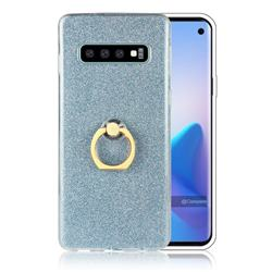 Luxury Soft TPU Glitter Back Ring Cover with 360 Rotate Finger Holder Buckle for Samsung Galaxy S10 (6.1 inch) - Blue